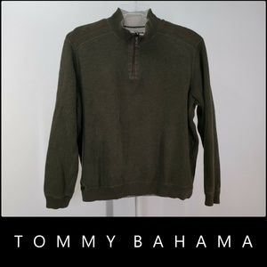 Tommy Bahama Men 1/4  Long Sleeve Sweater XL/Green